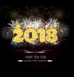 happy new year 2018 gold glitter type on gold vector image