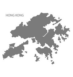hong kong china map grey vector image