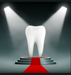 Human white tooth on the podium with searchlights vector