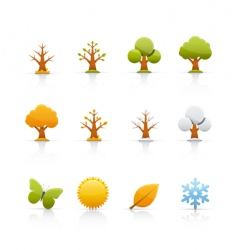 icon set tree four seasons vector image