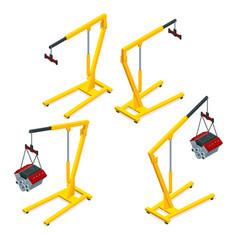 Isometric set yellow garage crane or auto vector