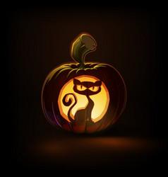 Jack-o-lantern dark spooky cat vector