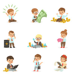kids in financial business collection cute boys vector image