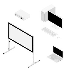 laptop computer projector and screen isometric vector image