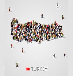 Large group of people in form of turkey map vector