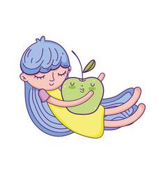 little girl with apple kawaii character vector image