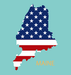 Maine state of america with map flag print on map vector