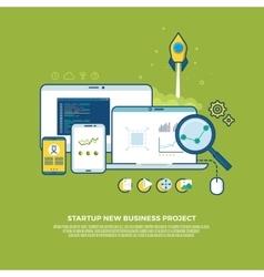 Management strategy digital marketing start up vector image