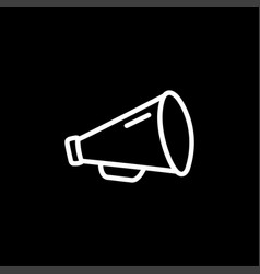 megaphone line icon on black background black vector image