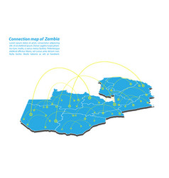 Modern of zambia map connections network design vector