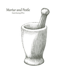 Mortar and pestle hand drawing engraving style vector
