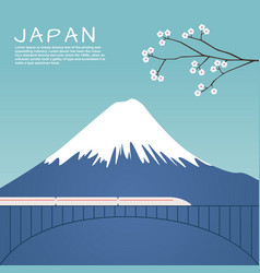 Mount fuji in japan with sakura tree vector