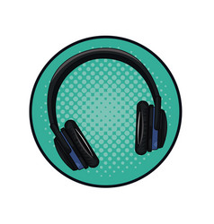 Music headphones pop art vector