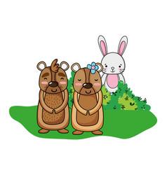 nice bear couple with rabbit in bush vector image