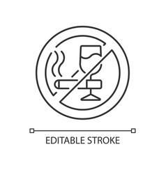 No alcohol and cigarettes linear icon vector