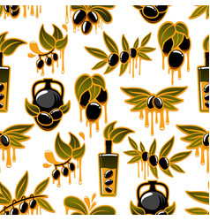 olive oil and fruit branch seamless pattern vector image