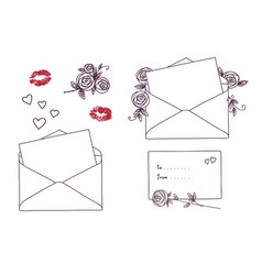 open letter with kisses roses and hearts vector image