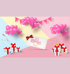 paper art of happy birthday elements with mail vector image
