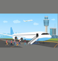 People in airport queue travelers and aircraft vector