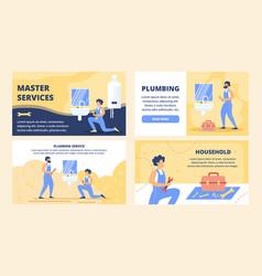 Plumbing service flat website templates set vector