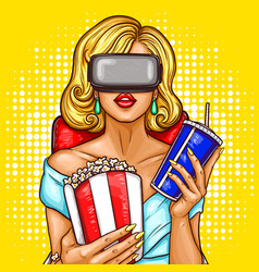 Pop art woman watching movie with virtual reality vector