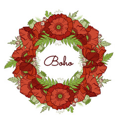 poppy wreath isolated on white vector image