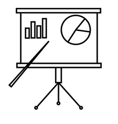 presentation board with chart icon vector image