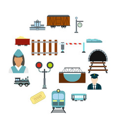 railroad flat icons set vector image