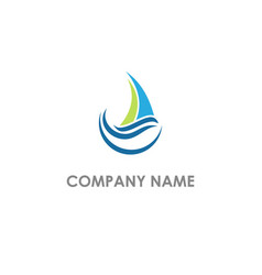 sailing boat wave ocean logo vector image