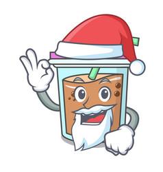 Santa bubble tea mascot cartoon vector