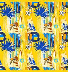 seamless pattern tropical birds palm leaves vector image