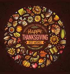 set happy thanksgiving cartoon doodle objects vector image
