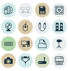 Set of 16 computer hardware icons includes music vector