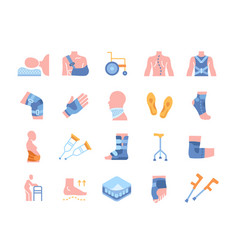 set of colored icons with immobilization vector image