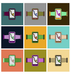 set of icons in flat design smartphone for running vector image