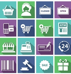Set of modern flat shopping icons vector