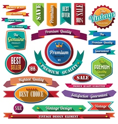 Set of retro vintage badges and labels 07 Flat des vector image