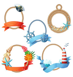set sea frames ropes with anchors seashells vector image