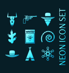 Set wild west glowing neon icons collection vector