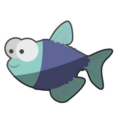 Silhouette multicolor pastel of fish with big eyes vector