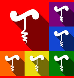 simple corkscrew sign set of icons with vector image