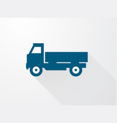 simple icons of the blue truck with long shadow vector image