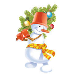 Snowman with small spruce tree christmas vector