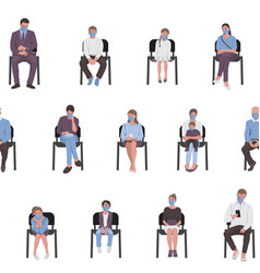social distancing adults and children sitting vector image