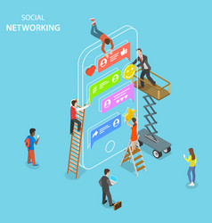 Social networking flat isometric concept vector