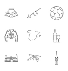 Spain icons set outline style vector image