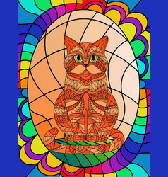 Stained glass with ornamental cat vector