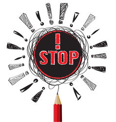 stop red pencil pencil idea on white isolate vector image
