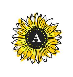 sunflower circle monogram frame vector image