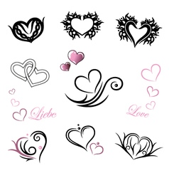 Tattoo hearts Valentines Day vector image